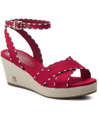 9826527bd4bb Espadrilky TOMMY HILFIGER - Corporate Detail Mid Wedge FW0FW04175 Tango Red  611