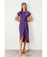 e2c1a7876423 Trendyol Anthracite Binding Detailed Knitted Dress Purple