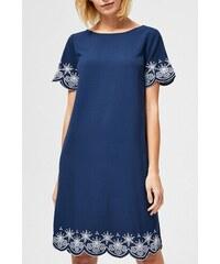 20787a4953 Moodo tmavo modré šaty s bielymi výšivkami