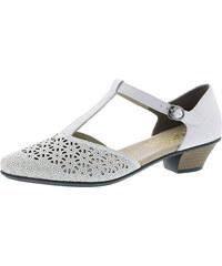 95a95de006ae Biela dámska uzatvorená sandála na nízkom podpätku značky Rieker