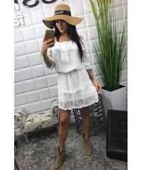 c5c4bb59bffa BudTrendy Letné dámske šaty s bodkami v bielej farbe