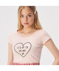 9c802b8c4e84 Sinsay - Tričko s nápisom - Ružová
