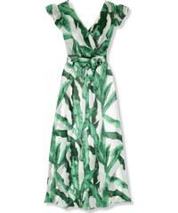 06a20c4028dc Trendovo Zeleno-biele letné maxi šaty