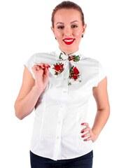 5a934d0e9f37 VERSABE Biela dámska košeľa s mašličkou Slim Fit VS-DK1722 - folklórna mašľa