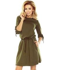 03ee01d20152 ModneVeci Dámske športové šaty s väzbami na rukáve vo vojenskej farbe 176-2-  military