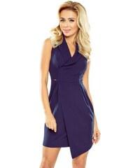 6a8e6e38d856 ModneVeci Elegantné dámske šaty so širokým golierom 153-3 tmavo modré