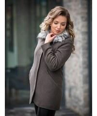 cdcce62fc04c VERSABE Luxusný dámsky kabát s kožušinkou DEYSI tmavá oliva