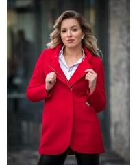 fe7ac9c136b5 VERSABE Dámsky elegantný kabát s kožušinkou DEYSI- červený
