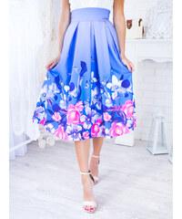 dc3d499b633d www.glashgirl.sk Modrá midi elegantná sukňa s kvetmi