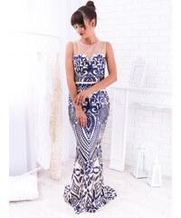 7ae8bf25319c www.glashgirl.sk Modré dlhé flitrované spoločenské šaty