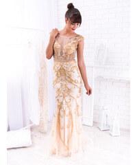 76f11fad492c www.glashgirl.sk Zlaté svetlé dlhé flitrované spoločenské šaty