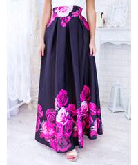 31378006fbf0 www.glashgirl.sk Čierna dlhá elegantná sukňa s kvetmi