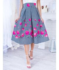 a0bca767069b www.glashgirl.sk Čiernobiela midi elegantná sukňa s kvetmi