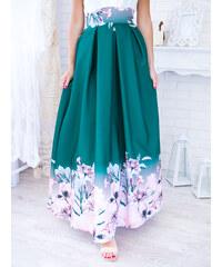 2a8aebd29b46 www.glashgirl.sk Zelená dlhá elegantná sukňa s kvetmi