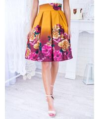 97634a7ee6b4 www.glashgirl.sk Žltá krátka elegantná sukňa s kvetmi