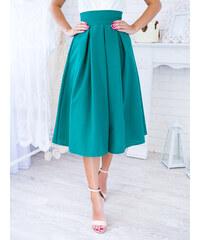 5bbe70ff3dd5 www.glashgirl.sk Petrolejová midi elegantná sukňa