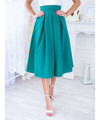 881b457f8fe3 www.glashgirl.sk Petrolejová midi elegantná sukňa
