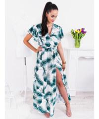 a26564ce71be www.glashgirl.sk Bielo-zelené dlhé šaty s krátkym rukávom s rozparkom