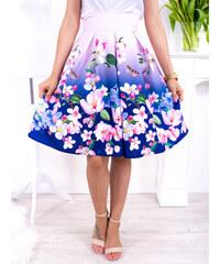 21d79e68b638 www.glashgirl.sk Ružovo-fialová midi elegantná sukňa s farebnými kvetmi