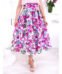 22ee62fc9def www.glashgirl.sk Farebná midi elegantná sukňa s kvetmi