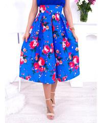 db9e63e25467 www.glashgirl.sk Modrá midi sukňa s červenými kvetmi