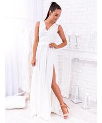 5f866ca093d7 www.glashgirl.sk Biele dlhé spoločenské saténové šaty s čipkou Juliette