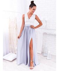8ce30486bcad www.glashgirl.sk Bielo-sivé dlhé spoločenské saténové šaty s čipkou Juliette