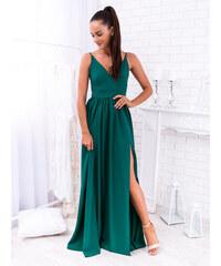 4abc187777c4 www.glashgirl.sk Zelené dlhé spoločenské šaty s rozparkami Nina