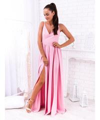 9078278b92f4 www.glashgirl.sk Ružové dlhé spoločenské šaty s rozparkami Nina