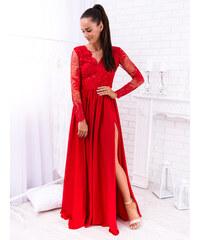 8d379a49ff78 www.glashgirl.sk Červené dlhé spoločenské šaty s čipkou s dlhým rukávom Luna