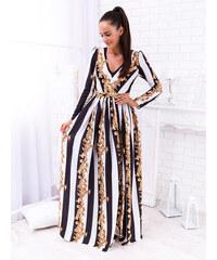 ccf9a7b7603e www.glashgirl.sk Čierno-biele pásikové dlhé spoločenské šaty so vzorom