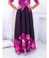 21eff9f98e5e www.glashgirl.sk Čierna dlhá elegantná sukňa s cyklámenovými kvetmi