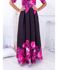 927bb0af7a58 www.glashgirl.sk Čierna dlhá elegantná sukňa s cyklámenovými kvetmi