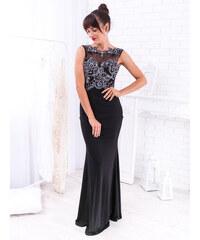 dd21ff828b15 www.glashgirl.sk Čierne dlhé spoločenské šaty s čipkovaným dekoltom