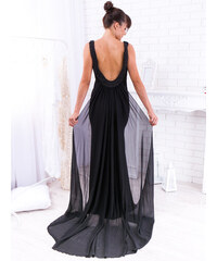 d027e812025b www.glashgirl.sk Čierne dlhé spoločenské šaty s vlečkou Solenne