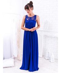 d84423616798 www.glashgirl.sk Modré dlhé spoločenské šaty zdobené čipkou