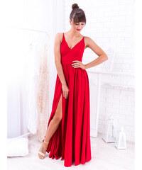f0e253c00765 www.glashgirl.sk Tmavočervené dlhé spoločenské šaty s rozparkami Nina