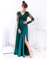 19f6802e9d www.glashgirl.sk Zelené dlhé spoločenské šaty s čipkou s dlhým rukávom Luna