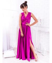 e8d6410e32ce www.glashgirl.sk Fialovo-ružové dlhé spoločenské saténové šaty s čipkou  Juliette