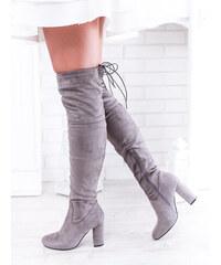 e976b6e17c85 www.glashgirl.sk Sivé vysoké čižmy nad koleno na zips