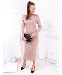 139f44fc5491 www.glashgirl.sk Béžové dlhé šaty s golierom cez ramená Colette