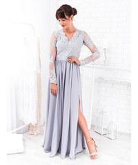 3f147f2cb5e4 www.glashgirl.sk Sivé dlhé spoločenské šaty s čipkou s dlhým rukávom Luna