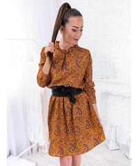 51158243d08f www.glashgirl.sk Horčicové vzorované šaty s dlhým rukávom