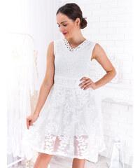 db3540045d4e www.glashgirl.sk Biele čipkované šaty s vyšívanou sukňou Rachael