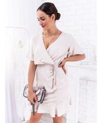 4692d236c6 www.glashgirl.sk Smotanové dlhé spoločenské šaty s volánmi Elisie ...