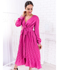 9021436e8b26 www.glashgirl.sk Ružové midi šaty s dlhým rukávom Alyna