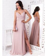 daee0965aed4 www.glashgirl.sk Béžové elegantné šaty s rozparkom Lisa
