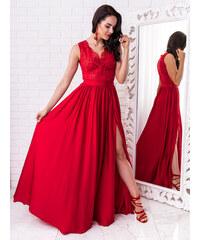 30b6e9540fa6 www.glashgirl.sk Červené dlhé spoločenské saténové šaty s čipkou Juliette