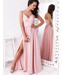67dafdf237a1 www.glashgirl.sk Púdrovo-ružové dlhé spoločenské šaty s rozparkami Nina