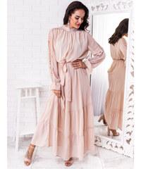 5bb2b4090026 www.glashgirl.sk Béžové dlhé šaty s dlhým rukávom doplnené čipkou Hanna
